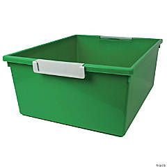 Tattle™ Tray with Label Holder, 12 Qt., Green, Set of 3