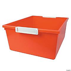 Tattle™ Tray with Label Holder, 12 Qt., Orange, Set of 3