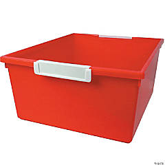 Tattle™ Tray with Label Holder, 12 Qt., Red, Set of 3