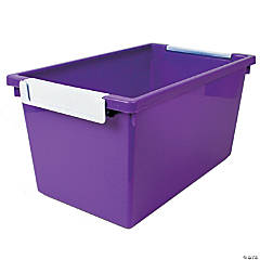 Tattle™ Tray with Label Holder, 5 Qt., Purple, Set of 3
