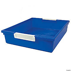 Tattle™ Tray with Label Holder, 6 Qt., Blue, Set of 3