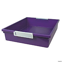 Tattle™ Tray with Label Holder, 6 Qt., Purple, Set of 3
