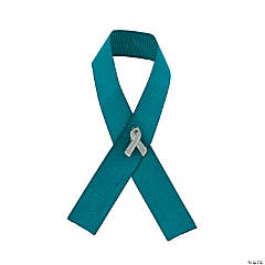 Teal Awareness Ribbon With Pins