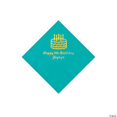 Teal Birthday Cake Personalized Napkins with Gold Foil - Beverage