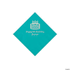Teal Birthday Cake Personalized Napkins with Silver Foil - Beverage