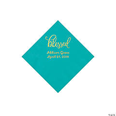 Teal Blessed Personalized Napkins with Gold Foil - Beverage