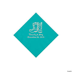 Teal Cowboy Boots Personalized Napkins with Silver Foil - Beverage