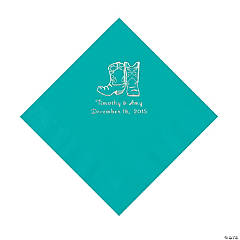 Teal Cowboy Boots Personalized Napkins with Silver Foil - Luncheon