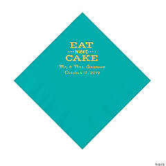 Teal Eat Cake Personalized Napkins with Gold Foil - Luncheon