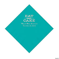 Teal Eat Cake Personalized Napkins with Silver Foil - Luncheon