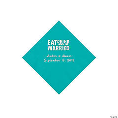 Teal Eat, Drink And Be Married Napkins with Silver Foil - Beverage