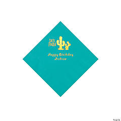 Teal Fiesta Personalized Napkins with Gold Foil - Beverage