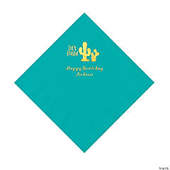 Teal Fiesta Personalized Napkins with Gold Foil - Luncheon