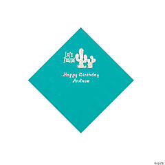 Teal Fiesta Personalized Napkins with Silver Foil - Beverage