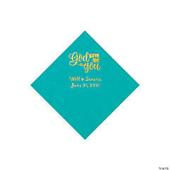 Teal God Gave Me You Personalized Napkins with Gold Foil - Beverage