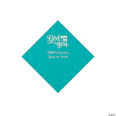 Teal God Gave Me You Personalized Napkins with Silver Foil - Beverage