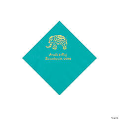 Teal Indian Wedding Personalized Napkins with Gold Foil - Beverage