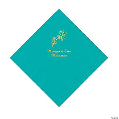 Teal Lagoon Blossom Branch Personalized Napkins with Gold Foil - Luncheon