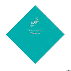 Teal Lagoon Blossom Branch Personalized Napkins with Silver Foil - Luncheon
