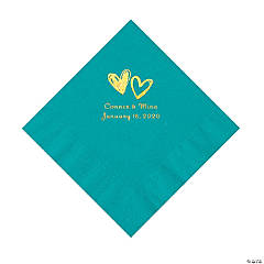 Teal Lagoon Hearts Personalized Napkins with Gold Foil - Luncheon