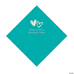Teal Lagoon Hearts Personalized Napkins with Silver Foil - Luncheon