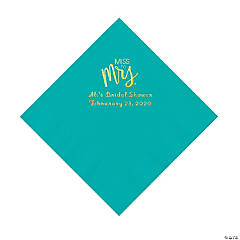Teal Lagoon Miss to Mrs. Personalized Napkins with Gold Foil - Luncheon
