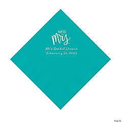 Teal Lagoon Miss to Mrs. Personalized Napkins with Silver Foil - Luncheon