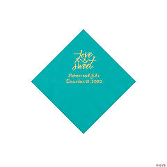 Teal Love Is Sweet Personalized Napkins with Gold Foil - Beverage