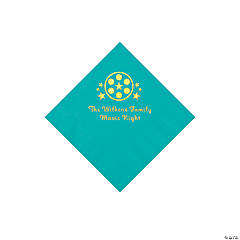 Teal Movie Night Personalized Napkins with Gold Foil – Beverage
