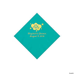 Teal Oh Baby Personalized Napkins with Gold Foil - Beverage