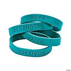 Teal Ribbon Awareness Sayings Bracelets