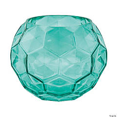 Teal Textured Glass Vase