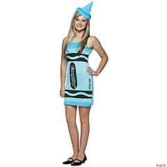 teen girls sky blue crayola crayon tank costume
