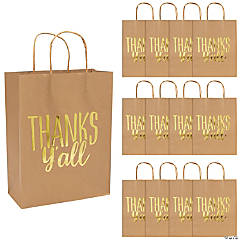 Thanks Y'all Paper Gift Bags with Gold Foil