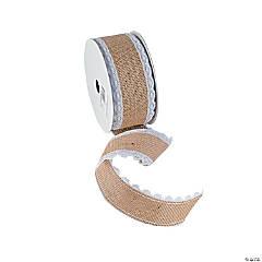 """Thelma Lace Burlap Ribbon - 2 1/2"""""""