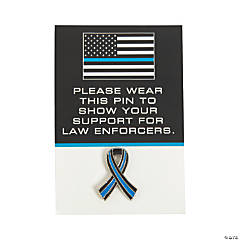Thin Blue Line Awareness Pins on Card