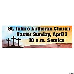 Three Crosses Religious Custom Banner - Medium