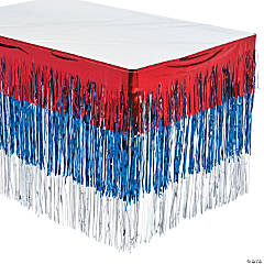 Tiered Patriotic Metallic Fringe Plastic Table Skirt