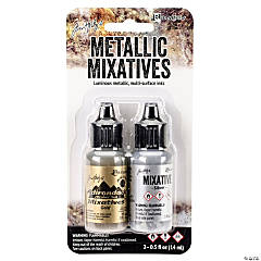 Tim Holtz Alcohol Ink Metallic Mixatives .5oz 2/Pkg, Gold & Silver