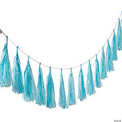 Tissue Paper Light Blue Tassel Garland