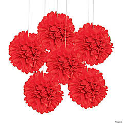 Tissue Paper Red Pom-Pom Decorations