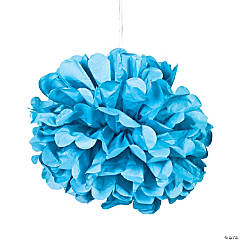 Tissue Paper Turquoise Pom-Pom Decorations