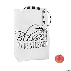 e7fef94539 Too Blessed to Be Stressed Large Canvas Tote Bag
