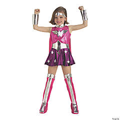Toodler Girl's Deluxe Pink Wonder Woman Costume