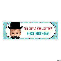 Top Hat & Mustache Lil Man Party Photo Custom Banner - Medium