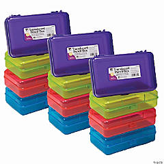 Translucent Pencil Boxes, Assorted Colors, Pack of 12