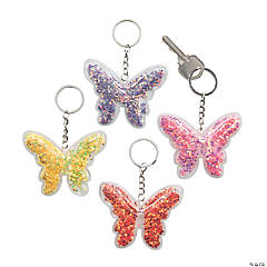 Transparent Confetti Butterfly Keychains