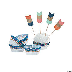 Tribal Baby Shower Cupcake Wrappers with Picks