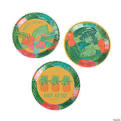 Tropical Fiesta Round Paper Appetizer Plates - 12 Ct.