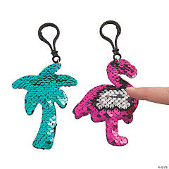 Tropical Flipping Sequin Backpack Clip Keychains